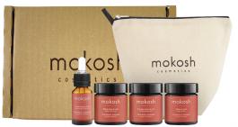 Mokosh Travel Set Pomarańcza z Cynamonem (W) peeling solny 30ml + masło do ciała 30ml + balsam brązujący do ciała 30ml + rozświetlający eliksir do ciała 10ml + kosmetyczka