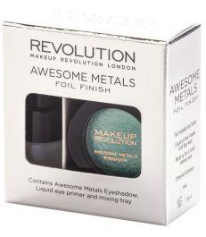 Makeup Revolution Awesome Metals Foil Finish (W) metaliczny cień do powiek + podkład Emerald Goddes 1,5g