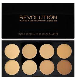 Makeup Revolution Ultra Cover & Conceal Palette (W) paleta 8 kremowych korektorów Light Medium 10g