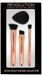 SET Makeup Revolution C301 Ultra Sculpt & Blend Collection (W) zestaw 3 pędzli + gąbka do podkładu