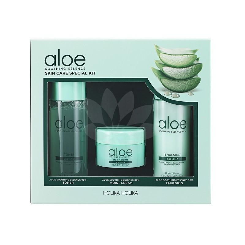 Zestaw prezentowy dla kobiet Holika Holika Aloe Soothing Essence Skin Care Special Kit (W) toner 50ml + emulsja 50ml + krem do twarzy 20ml