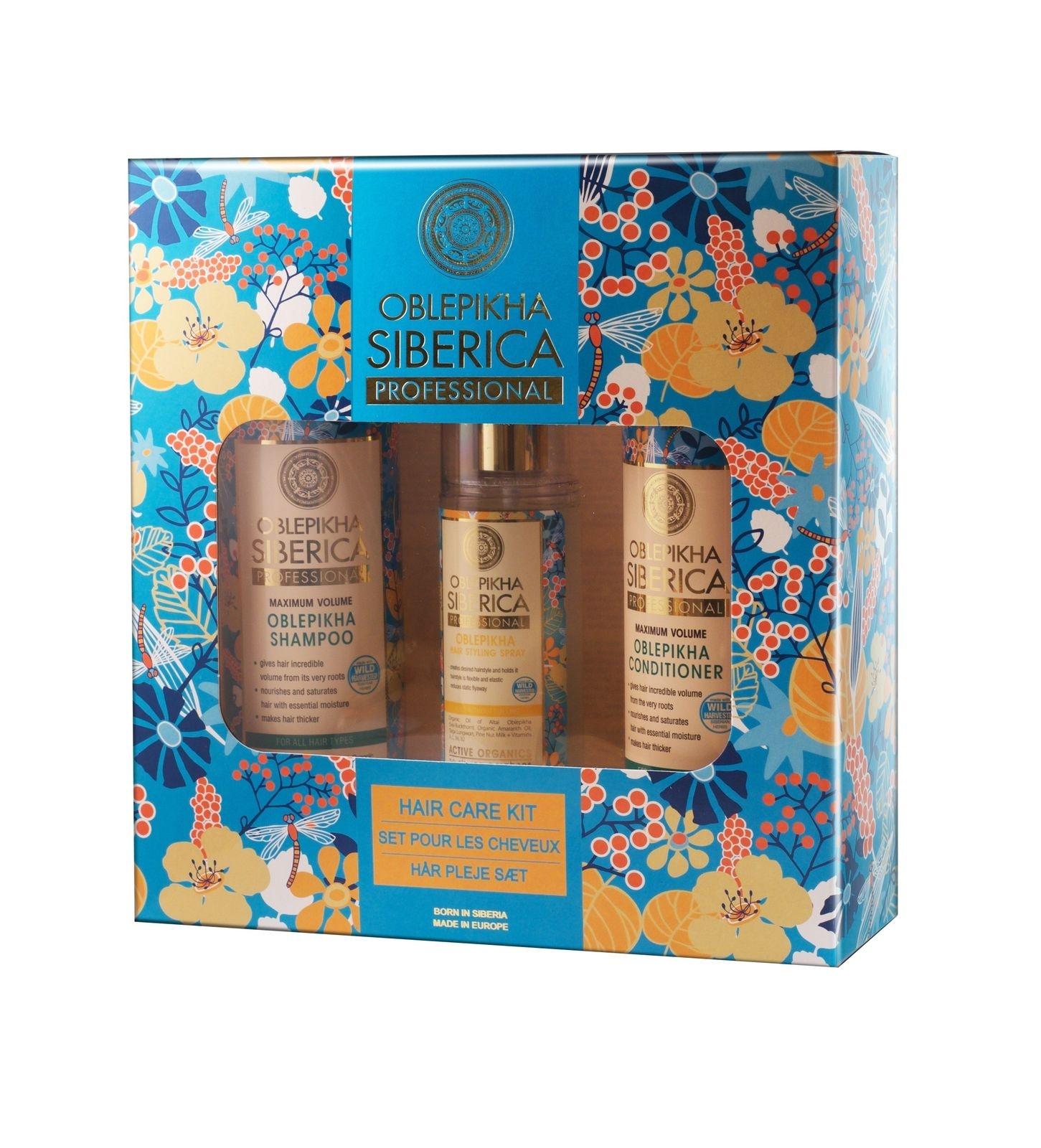 SET Natural Siberica Oblepikha Hair Care Kit (W) szampon do włosów 400ml + odżywka do włosów 400ml + spray do stylizacji włosów 125ml