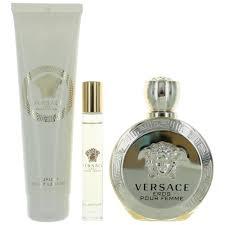 Zestaw prezentowy dla kobiet Versace Eros Pour Femme woda perfumowana 100ml + żel pod prysznic 150ml + woda perfumowana roll-on 10ml