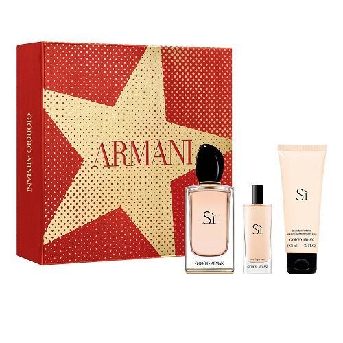 Zestaw prezentowy dla kobiet Armani Si woda perfumowana 100ml + woda perfumowana 15ml + balsam do ciała 75ml