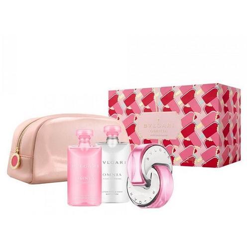 Zestaw prezentowy dla kobiet Bvlgari Omnia Pink Sapphire woda toaletowa 65ml + żel pod prysznic 75ml + balsam do ciała 75ml + kosmetyczka