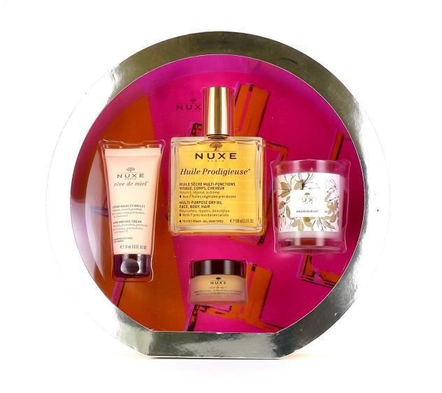 SET Nuxe Huile Prodigieuse (W) krem do rąk 30ml + balsam do ust 15ml + suchy olejek 100ml + świeca 70g