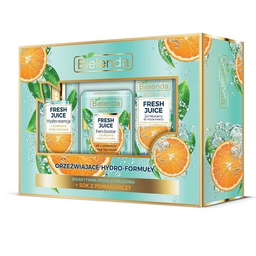Zestaw prezentowy Bielenda Fresh Juice Pomarańcza (W) krem-booster 50ml + hydro-esencja 110ml + żel micelarny 190g
